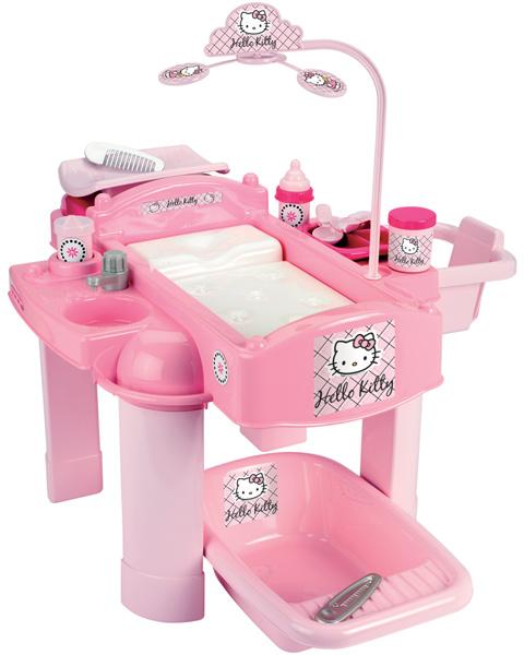 ecoiffier hello kitty poup es soins center puppenbett baignoire poup e chaise haute ebay. Black Bedroom Furniture Sets. Home Design Ideas