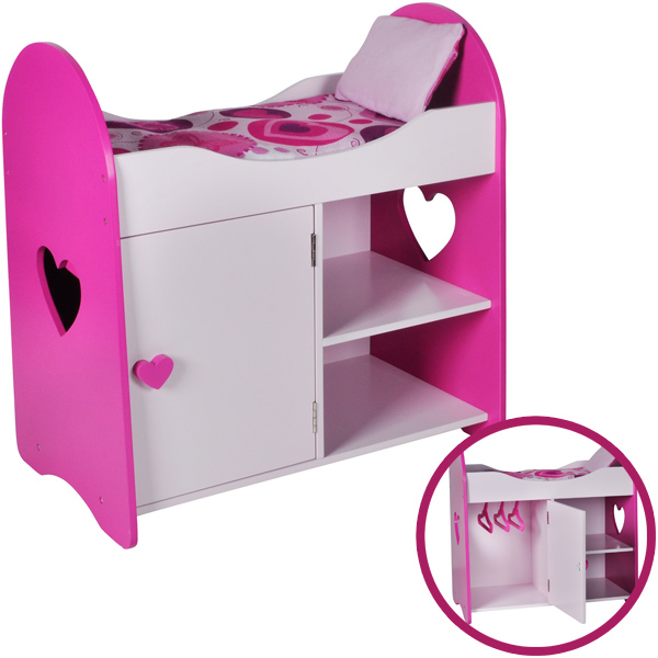 knorrtoys puppenhochbett mit schrank heart pink wei. Black Bedroom Furniture Sets. Home Design Ideas