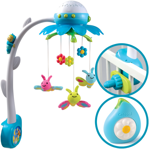 smoby cotoons musik mobile flower mit deckenprojektor blau schlafmusik babybett ebay. Black Bedroom Furniture Sets. Home Design Ideas