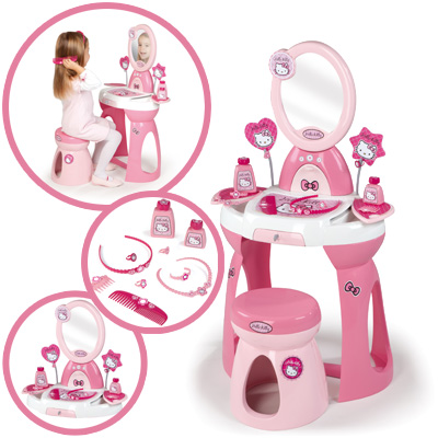 smoby hello kitty frisiersalon schminktisch m dchen tisch mit hocher kinder ebay. Black Bedroom Furniture Sets. Home Design Ideas