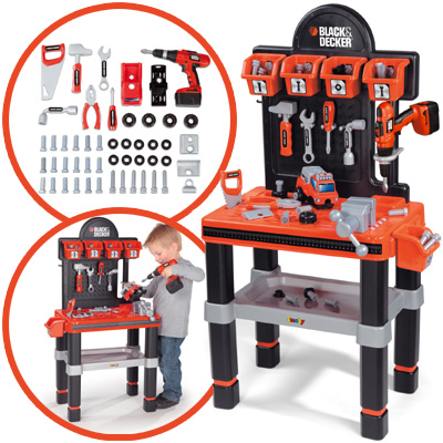 smoby black decker werkbank bricolocenter kinder kinderwerkbank werkzeug ebay. Black Bedroom Furniture Sets. Home Design Ideas